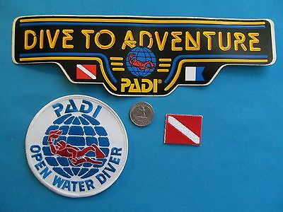 3 Rare Scuba Diving Padi Snorkling Bumper Sticker Decal Patch Crest Emblem Lot