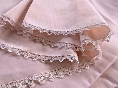 Vintage Soft Pink French Metis Linen 82x208 Oval Banquet Tablecloth Bobbin Lace