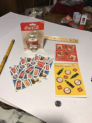 1 LOT OF 5 Sheets OF Coca Cola Stickers Plus 1 Key Chain