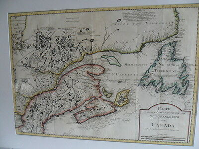 Large map CANADA 1744 (date shown) Bellin ORIGINAL 15 yrs prior British Invasion