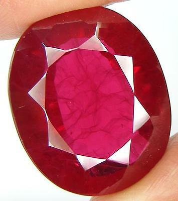 47.19Ct. Huge Size Oval Pigeon Blood Red Inclusions Ruby Lab Corundum