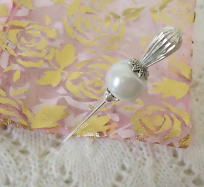 White Glass Pearl Bead HatPin with clutch ~Lapel Hat Brooch Stick Pin- Wedding