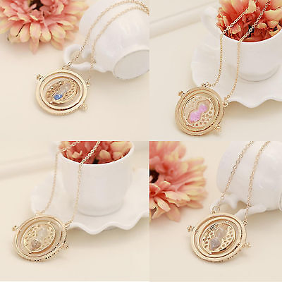 Harry Potter Necklace Time Turner Hermione Hourglass Pendant Rotate Hourglass
