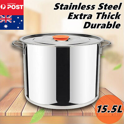 15.5L Stock Pots Cookware Casserole Stockpot Cooking Kitchen Set Stainless Steel