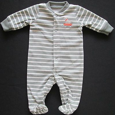 CARTERS Baby Boys Long Sleeve Romber Onesie Bodysuit NB Striped Size 0000 NEW