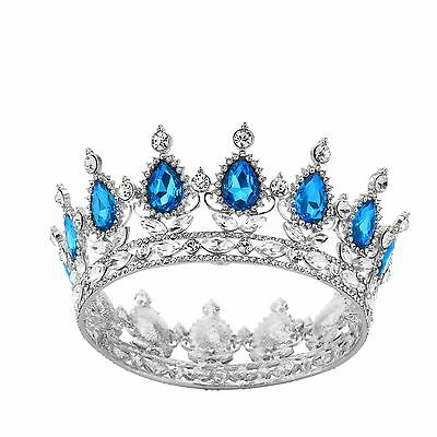 Party Prom Pageant Round Hair Tiara Kids Sapphire Crystal Crown Wedding Headband