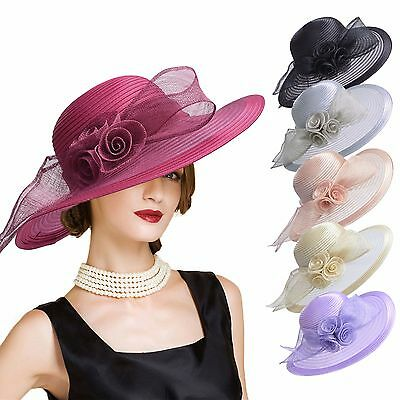 Womens Church Kentucky Derby Carriage Wedding Satin Ribbon Sinamay Hat A435