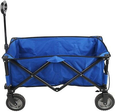 Folding Tailgating Camping Sports Wagon Foldable Yard Utility Cart Fabric Blue