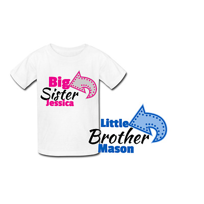 Personalised Big Sister Little Brother- Matching t-shirts - new baby shower gift