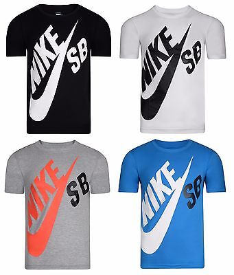 New Boys Junior Kids Nike SB Logo T-Shirt Top - Grey White Black Blue