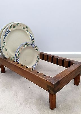 Antique vintage wooden plate rack