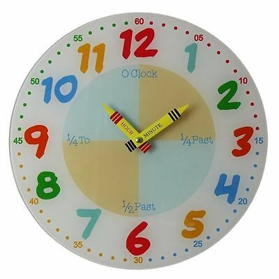 Widdop Teach The Time Children's Learn Wall Clock, 30cm, Glass