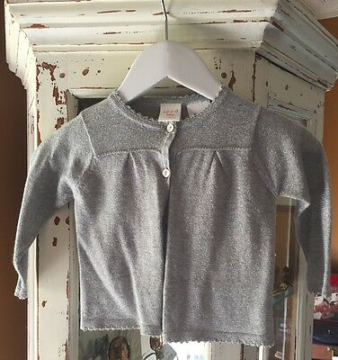 SEED BABY. Size 6-12 Mths.Silver Thread Girls Cardigan.Exc.Cond