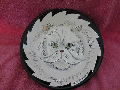 Cats By Nina Lyman 2001 White Cat Large Serving Bowl Plate New Never Used