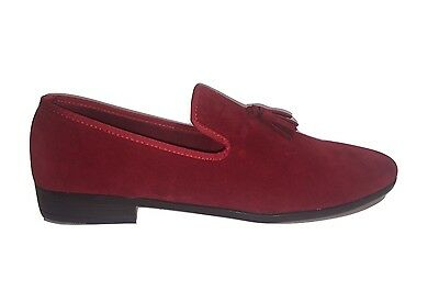 New Mens Red Italian Velvet Loafers Moccasin Tassel Casual Party Slip On Shoes