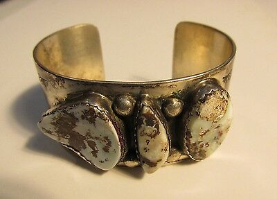 signed American Indian sterling silver white blue turquoise cuff bracelet