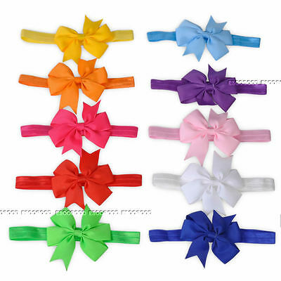 10pcs Elastic Baby Headdress Kids Hair Band Girls Bow Newborn Headband Ribbon 03