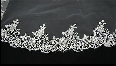 High quality 1T Cathedral Veil White Lace Wedding Veil Long Bridal Lace Mantilla