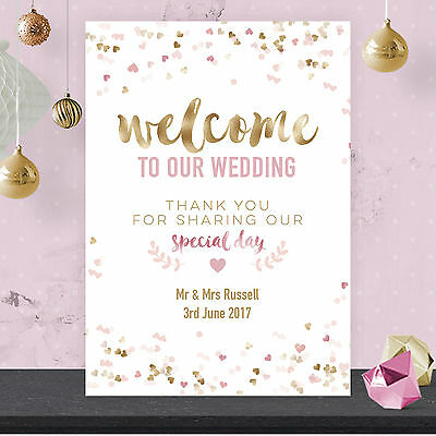 Personalised Welcome To Our Wedding Sign Poster Pink Confetti & Gold Effect GFP1