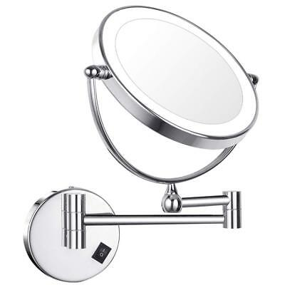 GURUN 7X Magnifying Lighted Makeup Mirror with USB Rechargable Chrome Finish 8""
