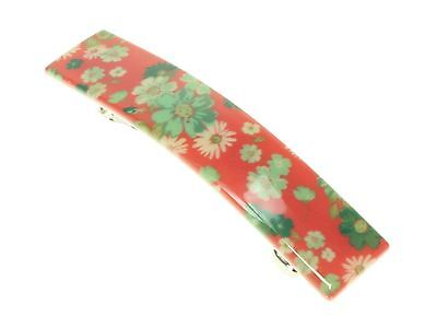 Red Ditsy Floral French Clip Barrette Hair Clip Slide Grip