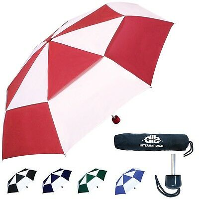 Vented Unisex Windproof Umbrella Rain Storm Telescopic Brolly Unisex