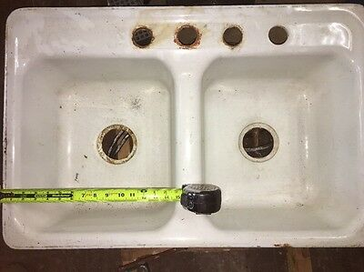 "Vintage Double Compartment Porcelain Cast Iron Farmhouse Kitchen Sink 15"" x 20"""