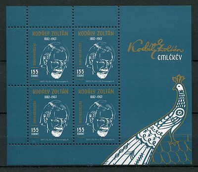 Hungary 2017 MNH Zoltan Kodaly 4v M/S Peacocks Birds Music Composers Stamps