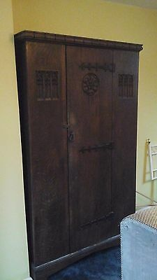 Antique Beautiful old Oak  wardrobe with handcarved detail