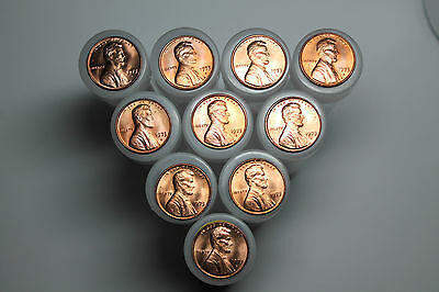 Lot of 10 1973D BU Lincoln cent rolls