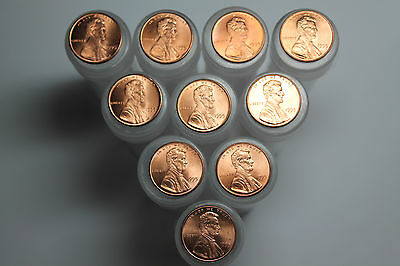 Lot of 10 1995 BU Lincoln cent rolls