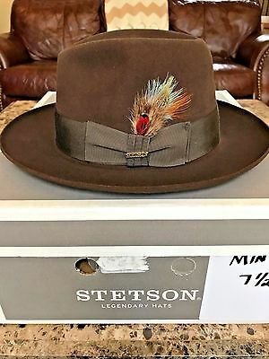"""Stetson """"temple"""" Soverieign Mink/brown Size 7 1/2 Great Dress Fedora!"""