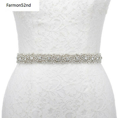 Wedding Dress Belt Sash Dazzling Rhinestone Wedding Party Prom Ivory