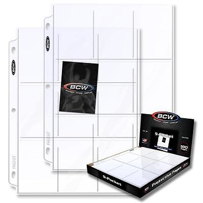 200 BCW 9-Pocket Clear Trading/Sports Card Album Pages/ Coupon Binder Sheets