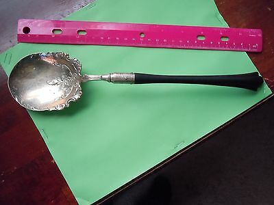 """Large 12"""" Serving Spoon W/ Hand Carved Hardwood Handle Metal Content Unknown"""