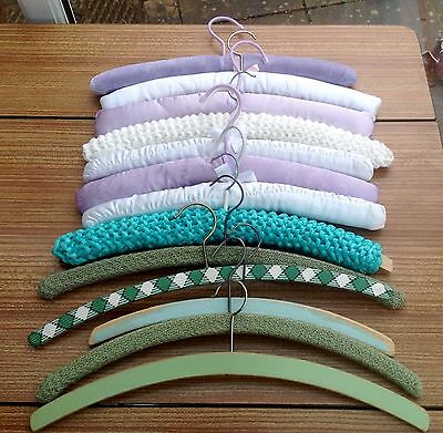 Job Lot Of 13 Vintage Retro Coat Hangers Fabric Covered Crochet Padded Painted