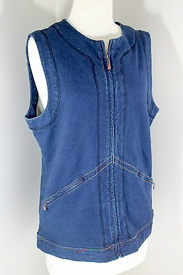 Vtg Sz M Women's Dark Denim Zip Front Vest Top