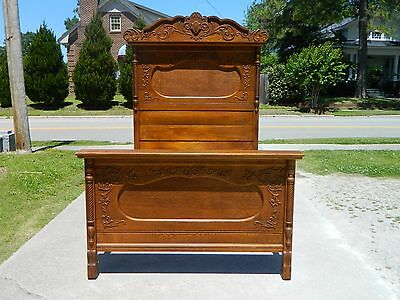 Walnut and Burl Fancy High Back Victorian Bed circa 1875