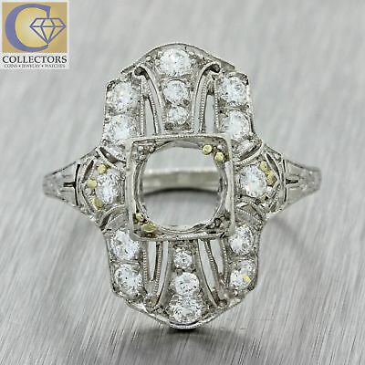 1930s Antique Art Deco TANKE Solid Platinum .56ctw Diamond Mounting Setting Ring