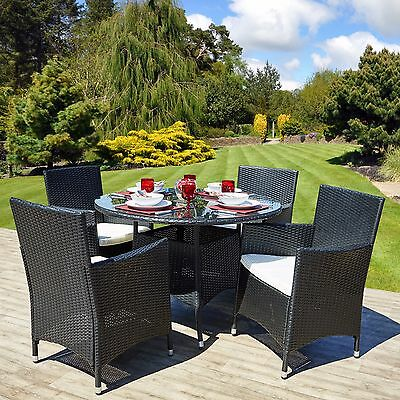 Rattan Outdoor Garden Furniture Round Dining Table Set 4 Chairs Conservatory