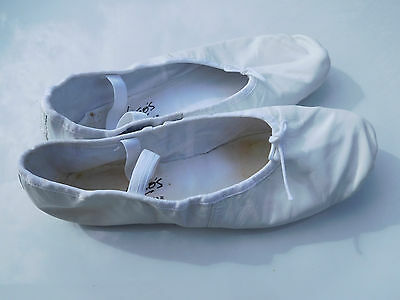 Women's White Leather Professional Ballet Slippers Size 11