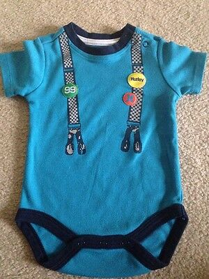 Infant Boy Hurley Blue One- Piece Snap, Size 3-6 Months, Short-sleeve