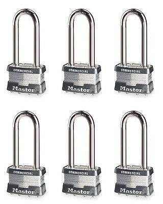 "Master Lock Keyed Alike Padlocks 6-Pack, 2-1/2"" Extended Shackle, Silver"