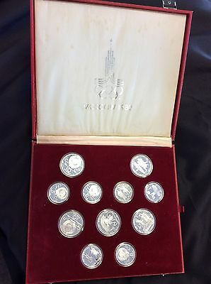 1980 Moscow Olympic 28 Silver Coin Set In Original Box