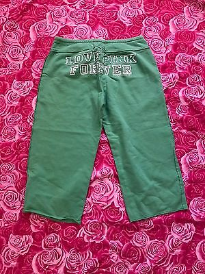 Victoria's Secret Green Cropped Comfy Sweat Pants Pink Women's Size M