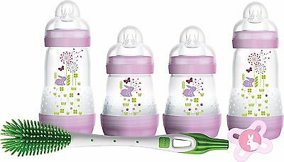 Mam 6 Piece Newborn Baby Girl Feeding Set Lilac 4 Bottles Soother & Bottle Brush