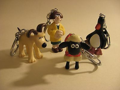 Wallace and Gromit Figure Keychains Unused Set of 4