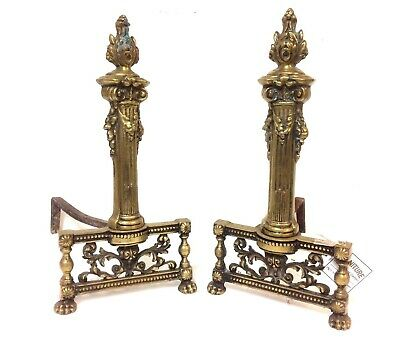 Pair of 19th C French Bronze andirons