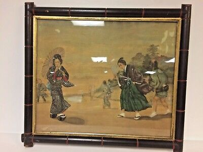 Antique Japanese Watercolor on Silk of Samurai Character