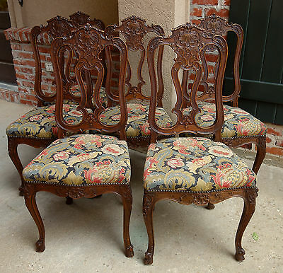 SET Six 6 Antique French Carved Oak Dining CHAIRS Louis XV XVI Cabriole